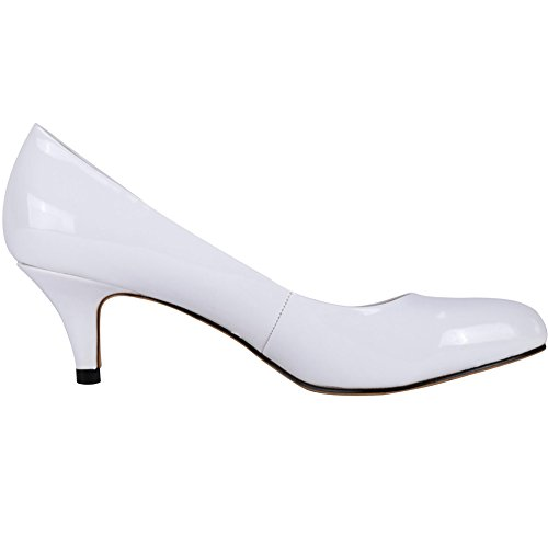 Toe Round Women's Neon Leather Slender Heels Pumps Work Zbeibei White 3321 Mid Court wvgqxyd