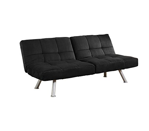 Kaila Sofa Sleeper Convertible Futon Couch Bed in Premium Black Microsuede with Adjustable Armrests & Slanted Metal Legs and Splitback (Black)