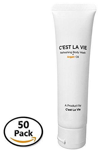 50 Pack - Refreshing Body Wash + Argan Oil By C'EST LA VIE - 40ml / 1.35 fl oz - Travel Guest & Hotel Amenities - Individual Tubes in Eco Responsible Packaging. Paraben & Cruelty Free (White) (40 Oil Ml Rose)