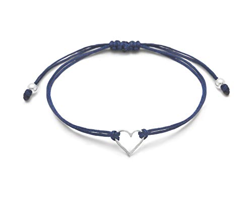 Claudia Lira Joyas Denim Blue Womens Friendship Bracelet, Small Sterling Silver 925 Open Heart Shaped Charm, Pull Adjustable Kindred Cord Thread, Handmade in Peru. Perfect for Small Gift Set