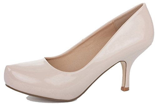 Low Stiletto Size Mid Shoes Ladies Patent Nude Platform Pumps Court Heels qCEfEX