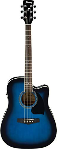 Ibanez-PF15ECE-TBS-Right-Handed-Acoustic-Guitar-Transparent-Blue-Sunburst-High-Gloss-6-Strings