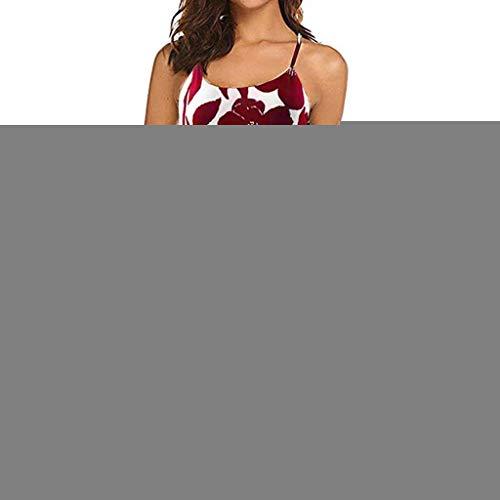 YKARITIANNA Women's Vintage Printed Sleeveless Strappy Summer Beach Swing Camis Dress