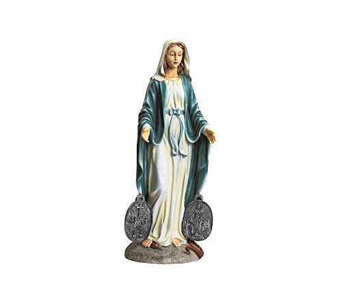 Dеsign Tоscаnо Premium Miraculous Medal Madonna Italian Style Religious Garden Statue, 23 Inch, Polyresin, Full Color (Miraculous Statue Medal)
