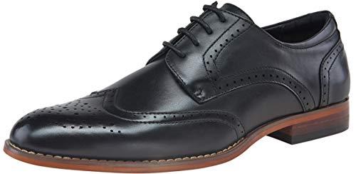 (VOSTEY Men's Oxford Classic Wingtip Brogue Derby Dress Shoes (9.5,Black))