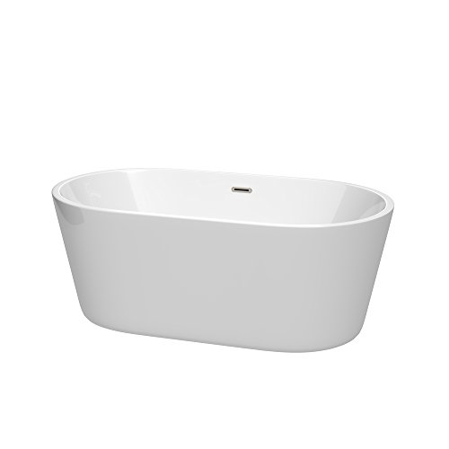 Wyndham Collection WCOBT101260BNTRIM Carissa Freestanding Bathtub with Drain and Overflow Trim, 60