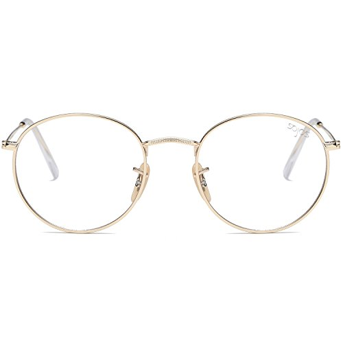 SojoS Small Round Clear Lens Unisex Metal Frame Eyeglasses Glasses SJ1014 3447 With Gold Frame/Clear - Round Eyeglasses Lens
