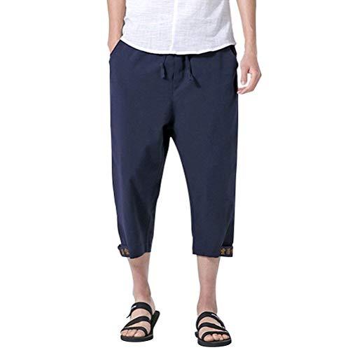 Été Couleur Bleu Harem Lin Adolescents Et Hommes Saoye Mode Coton Solide D'entrain Vêtements Respirant En Plein Marine Simple Pantalon p0THaWg