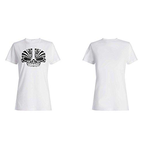 GLÜCKLICHER HALLOWEEN SKELETON KOPF LUSTIG NEUHEIT Damen T-shirt k20f