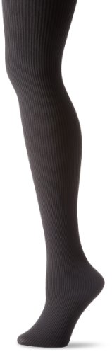 Hue Ribbed Tights (Hue Women's Classic Rib Tight with CT, Black, Small/2)
