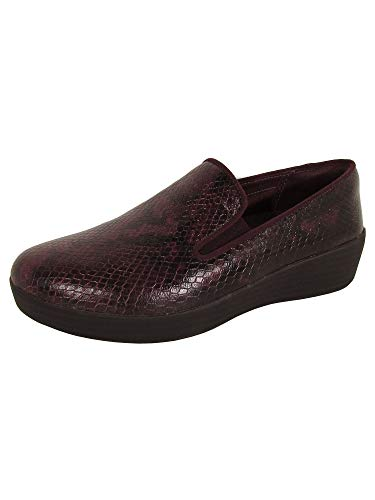 FitFlop Women's Superskate Leather Loafers Flat Deep Plum Snake