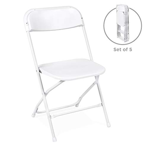 Best Choice Products Set of 5 Indoor Outdoor Portable Stackable Lightweight Plastic Folding Chairs for Events, Parties – White