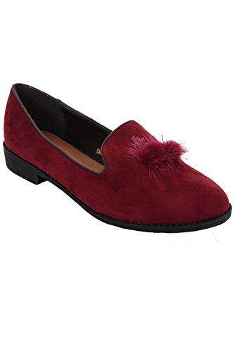 FANTASIA BOUTIQUE ® Ladies Slip On Dolly Shoes Fur Tassel Pom Pom Ballet Pumps Suede Flats Wine Tassle skUqHesG