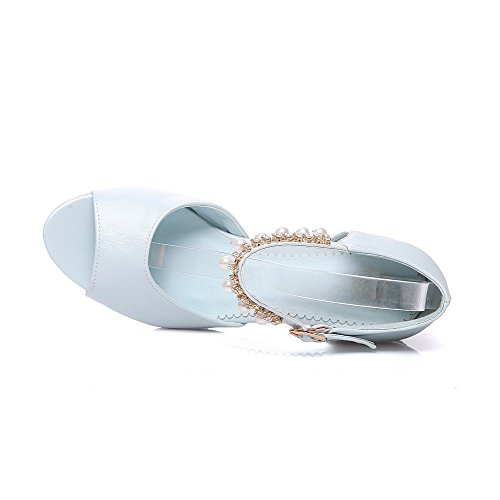 Buckle Open Blue Kitten Toe Heels Sandals WeenFashion Women's Solid xSXqnU4