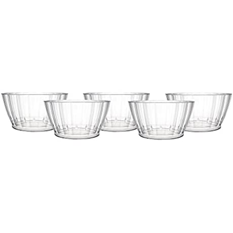 Party Essentials N500920 100Count Deluxe Elegance Quality Plastic 6 Oz Fruit Nut Dessert Bowls Clear