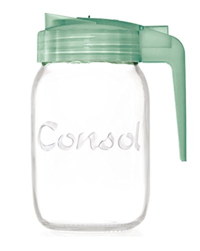 Classic Glass Preserve Mason Jar Fitted With An Easy Pouring Non Drip Angled Spout & BPA-Free Lid Converts it Into A Versatile Jug - By Consol (32oz, Green) ()