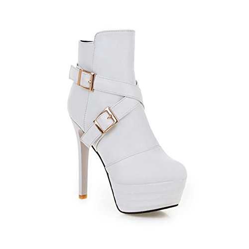 Chunky Platform A Boots Imitated White Girls Leather Buckle amp;N Heels 7TxFWpFwRq