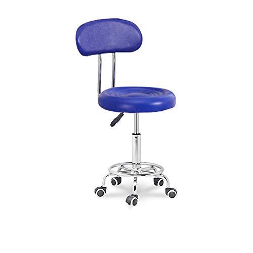 PVE Leather Computer Gaming Chair, Silla de Bar, con Base de Asiento Redonda de Metal, Altura Ajustable(34-54cm), 360° Giratoria Silla, para Bar, Cafeteria, Oficina, Dormitorio,Blue 1