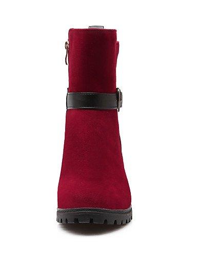 us8 Red Robusto Redonda Tacón negro 5 5 Moto Botas Cn39 Zapatos Uk8 A Eu39 Uk6 Casual Vellón Black Cn43 Eu42 La Vestido us10 Semicuero Xzz Punta Mujer De Moda w4xYI