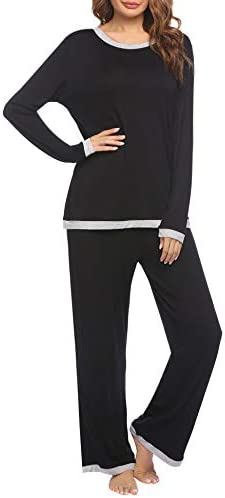 Ekouaer Women's Pajama Long Sleeve Sleepwear Two Piece Pajamas Set Soft Pj Lounge Sets S-XXL