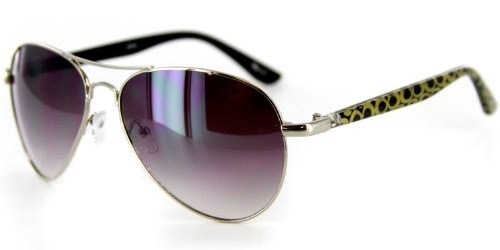 Olivia 2030 Designer Sunglasses with Colorful Patterned Aviator Frames for Stylish, Modern Women (Black & Gold)