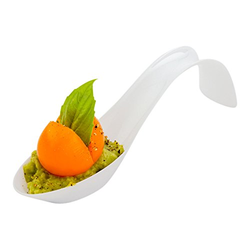 Curly Tasting Spoon, Stiletto Appetizer Spoon, Soup Spoon - White Curved Spoon - 5 Inches - 100ct Box - Restaurantware