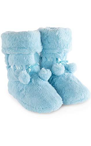- PajamaGram Bootie Slippers for Women - Pom-Pom Slipper Boots, Blue, 5/6
