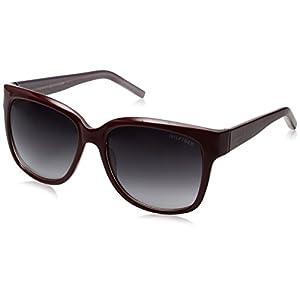 Tommy Hilfiger Women's Lad181 66396779 Square Sunglasses, Burgundy/Smoke Gradient, 58 mm