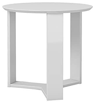 Manhattan Comfort Madison 2.0 End Table Collection Round Living Room End Table Accent Table, 23 L x 23 W x 22 H, White Gloss