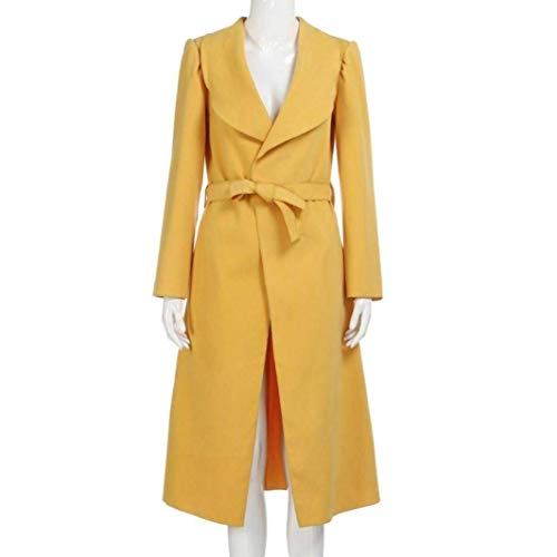 Moda Lunga Cintura Elegante Bavero Trench Modern Manica Stile Colori Gelb Invernali Solidi Donna Giubotto Costume Inclusa Windbreaker Cappotti E8qBf