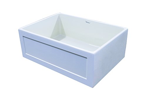 Whitehaus Collection WHPLCON2719-WHITE Farmhaus Fireclay Reversible 27 Sink with a Plain One Side and a Concave Front Apron the Other, White
