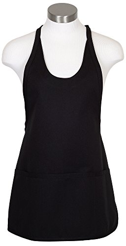 Fame Adult's Scoop Neck Bib Apron-Black-O/S