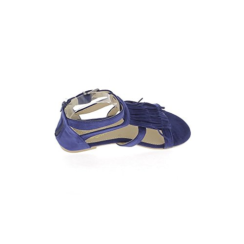 Sandalias azules de tacón 1 cm look ante bridas y franja