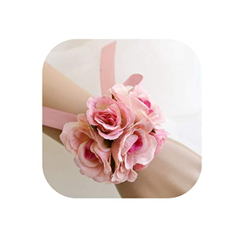 Price comparison product image Many Color Bride Bridesmaid Hand Wrist Flower Wedding Flower Girl Bracelet Bridal Wristband Corsage Accessories Supplies, As Picture1