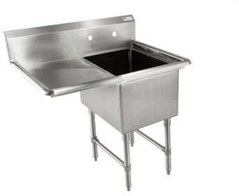 John Boos B Series Stainless Steel Sink, 14'' Deep Bowl, 1 Compartment, 24'' Left Hand Side Drainboard, 52'' Length x 29-1/2'' Width by John Boos