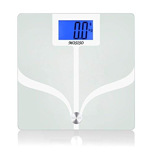 Mosiso - Bluetooth Body Fat Digital Scale with FREE App for iPhone and Android Smart Phones - Measures 8 Parameters- 4.3' backlit LCD display - Body Composition Analyzer, White