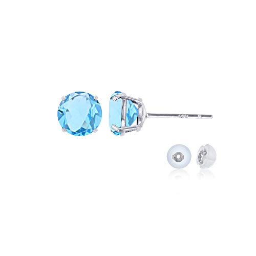 Genuine 14K Solid White Gold 4mm Round Natural Sky Blue Topaz December Birthstone Stud Earrings
