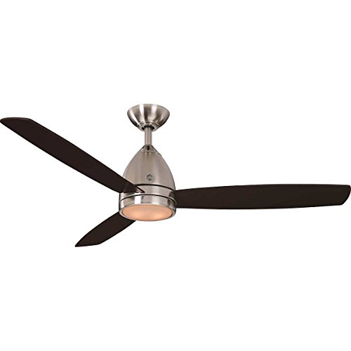 (GE 52-Inch Brushed Nickel Ceiling Fan with Matte White Acrylic Led Shade and 3 Espresso Finish Blades, Remote Control Included)