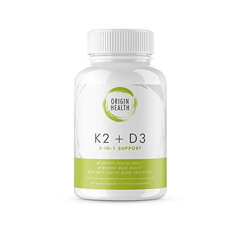 Vitamin K2 (MK7) with D3 Supplement - Vitamin D & K Complex - Bone and Heart Health Formula - 5000 IU Vitamin D3 & 90 mcg Vitamin K2 MK-7-60 Vegetable Capsules