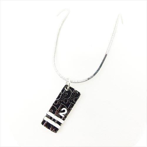 ディオール ネックレス アクセサリー シルバー 白ブラック トロッター メンズ可 Dior  T7407