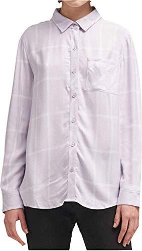 DKNY Dusty Lavender Womens Plaid Button Down Shirt Purple XS Dkny Button Down Shirt