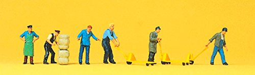 Preiser 10255 Delivery Men (6) with Pallet Trucks & Packages