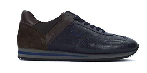 Harmont & Blaine Uomo Scarpa Sneaker Pelle Blu Marrone E9041510-25457 - 40