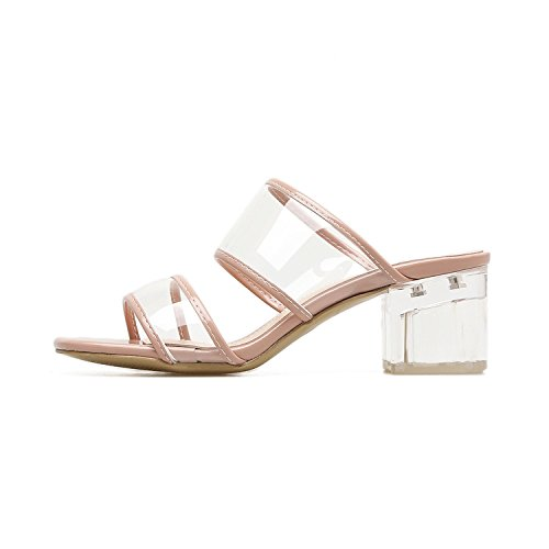 Good-memories Sexy Crystal Transparent Shoes Women Sandals High Heels Black Nude Open Toe Chunky Heels Shoes,Apricot,6.5