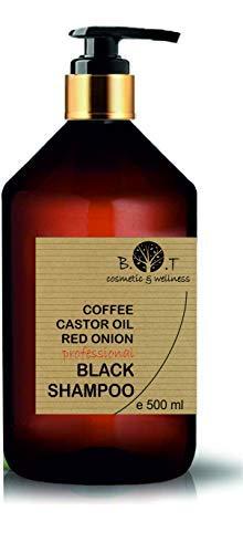 Black Champú Café Ricino y Extracto de Cebolla Detox Anti Polución Crecimiento y Volumen Todo tipo de cabellos Uso Diario para Pelo Brillante y Sedoso 500 ...