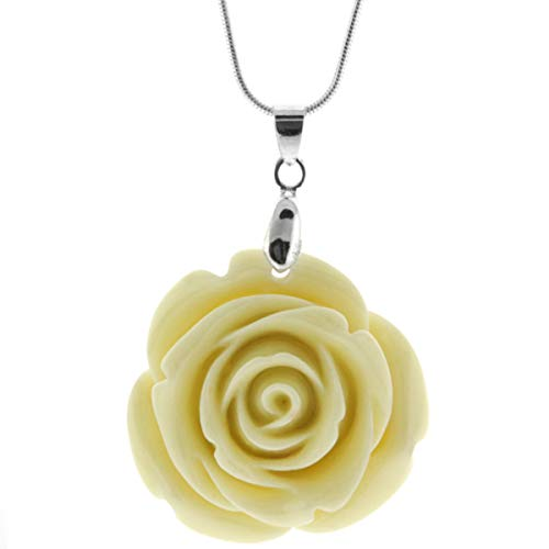Gem Stone King 35mm Simulated Beige Coral Carved Rose Flower Pendant with 16inches+2inches Extended - Rose Flower Carved Pendant