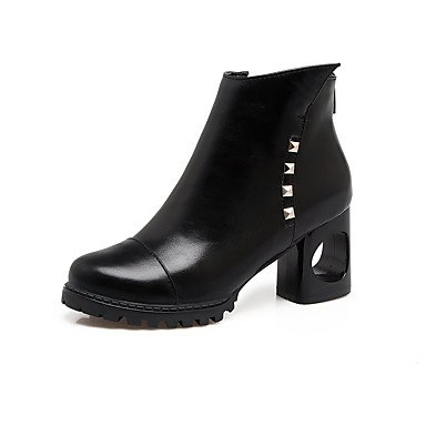 Heel US6 Winter Toe Boots CN37 7 Combat UK4 5 Closed Women's Casual EU37 5 Ankle Leatherette Fall 5 For Shoes Fashion Chunky Boots Booties Boots Rivet RTRY Zipper Boots IaqPOw1xO