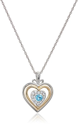 Blue Topaz Lab (sterling silver hearts and 14k yellow gold plated swiss blue topaz and lab created white sapphire with rope chain pendant necklace, 18