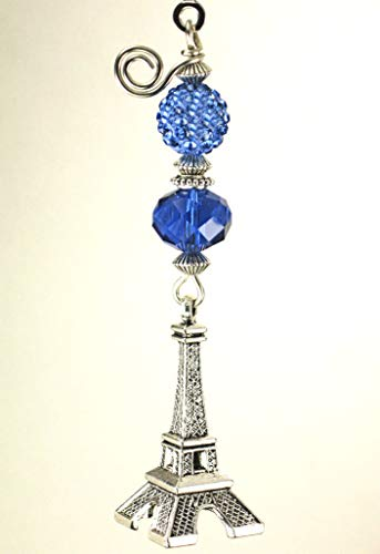 - Paris France Brilliant Cobalt Blue Glass & Silver French Eiffel Tower with Iridescent Rhinestone Ceiling Fan Pull Chain