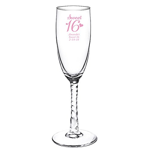 Personalized Color Printed Twisted Stem Champagne Flute - Sweet 16 - Pink - 12 pack (Twisted Stem Flute)